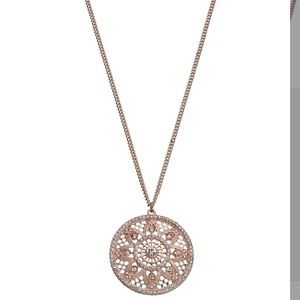 LC Long Openwork Medallion Disc Pendant Necklace